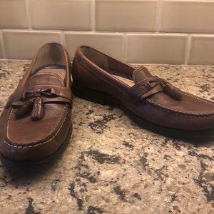Light Brown Bass tassel loafers.